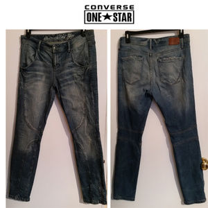 Converse distressed skinny zip ankle jeans sz 12